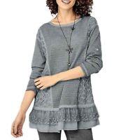 UK Size 12 - 26 Ladies PLUS Grey Sequin Lagenlook Embellished Long Tunic Top