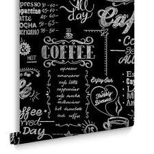 32-993 Coffee Shop Kitchen Black  + White Wallpaper Cafe Cheap