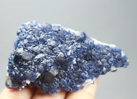 NATURAL Deep Blue Cubic FLUORITE Quartz Crystal Cluster Mineral Specimen