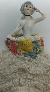 Vintage Half Doll Signed Boudoir Lamp Light Germany Millinery Silk Lace Skirt