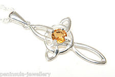 "Sterling Silver Citrine Cross Celtic Pendant and 20"" chain Gift Boxed Made in UK"