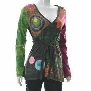 Desigual Women's Tie Waist V-Neck Top Empire Line Printed Blouse Long Sleeve XL