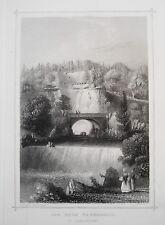 Kassel Der Wassefall zu  Wilhelmshöhe  Hessen  alter  seltener Stahlstich 1850
