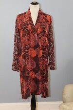 URU O/S S M L XL 100% Silk Red Tile Travel Top Shirt Tunic NWT Hand Dyed