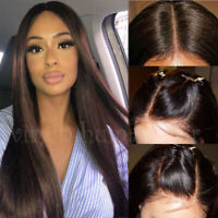 Glueless Natural Dark Brown Lace Front Wig Indian Remy Human Hair Wigs Baby Hair