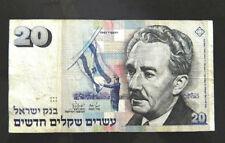 1987 israel 20 shekel sequalim moshe sharett bank note very nice