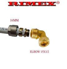 ELBOW REDUCER 16MM PEX ALU PEX PIPE - 15MM COMPRESSION COPPER PLASTIC