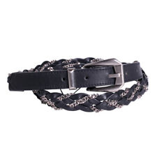 Gianni Versace Belt Size 38 Mens Black Leather Woven Strap Wheat Chain