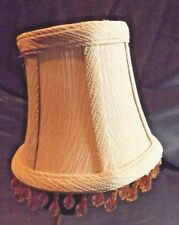 Beige Mini Lamp Shade Country Cottage Chic Lt.Orange/Amber Beading 4 In High