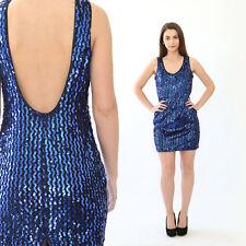 VTG 80s blue Sequin Cocktail Party mini dress