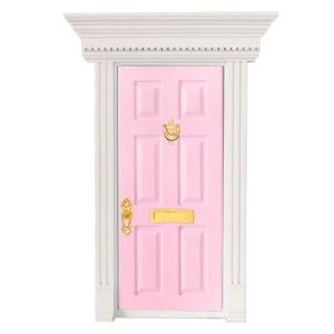 Pink Outward Open 6-Panel Wood Front Door with Hardware Doll House Miniature