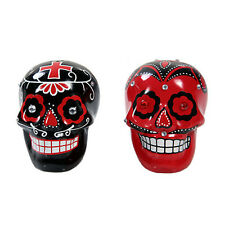 DOD Day Of The Dead Black and Red Skull Ceramic Kitchen Salt & Pepper Shakers