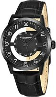 Stuhrling Aviator Japanese Quartz Transparent Dial Leather-Strap Black Watch