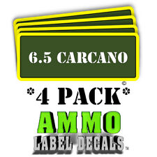 """6.5 CARCANO Ammo Label Decals Ammunition 3"""" x 1"""" Can stickers 4 PACK -YWagRD"""