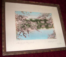 ROYAL H. CARLOCK Hand Colored photograph CHERRY BLOSSOMS Washington D,C, LINCOLN