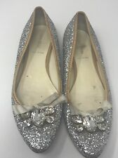 Miu MiuWomens Shoes Sz 38 Us 8 Flats Silver Faux Diamond Ribbon Rare Style Italy