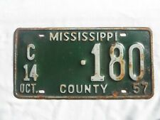 1957 Mississippi County License Plate Tag
