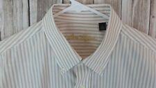 Ben Hogan Men's Button-Down Long Sleeve Dress Shirt (L, Pin Stripe Orange/White)