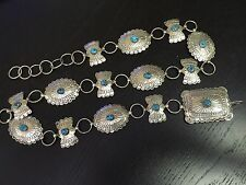 Belt Sleeping Beauty Turquoise .925 Silver Rare Alex Gelvin Signed Navajo Concho