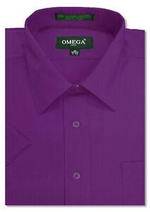 Mens Solid Regular fit Premium SHORT SLeeve Dress Shirts, 26 Colors, Size S~5XL