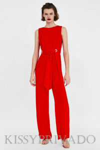 ZARA Long Red Jumpsuit with Eyelets to the Front and Tie  M BNWT