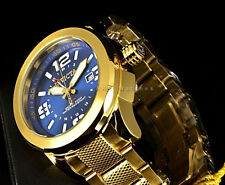 Invicta Coalition Forces Swiss 50MM GMT OceanBlue Dial Gold IP SS Bracelet Watch