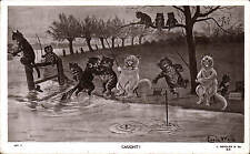 Louis Wain Cats. Caught! # 927 X by J. Beagles. Angling Comic.