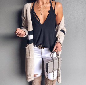 Women long sweater design black and white striped cardigan knitted sweater