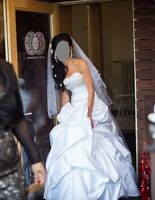 Maggie Sottero White Wedding Dress Size 6 8 Beaded Bust Embellished Satin £1400
