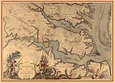 1939 PICTORIAL map Virginia showing Jamestown Williamsburg Yorktown POSTER 8369