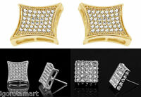 Square Gold Plated Micro Pave Bling HipHop Stones CZ Gem Stud Earrings Pair