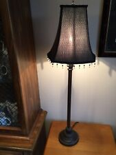 Tall Metal Accent Lamp with Black Beaded Shade, Victorian Style