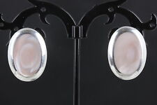 STERLING SILVER ROSE QUARTZ PINK MOTHER OF PEARL STONE EARRINGS 925 FINE 9703