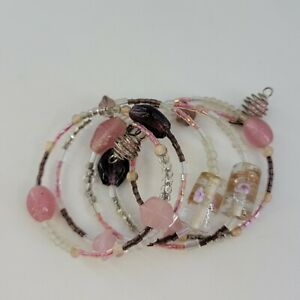 Artisan Colorful Glass Lampwork Bead Memory Wire Wrap Bracelet Pink Brown Clear