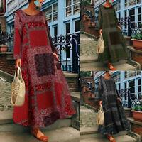 Plus Size Women Casual Boho Print Long Sleeve Kaftan Dress Loose Long Maxi Dress