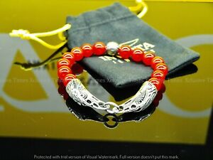 INVICTA ELEMENTS Men's EAGLE Genuine RED AGATE Gemstone Beaded Bracelet (Medium)