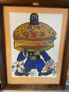 Rare Vintage 1970's McDonalds Artwork, Big Mac the Cop, Framed