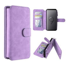 Samsung Galaxy S9 Plus Leather Removable Wallet Magnetic Flip Card Zipper Case