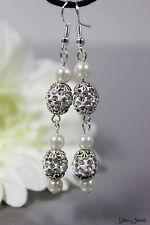 Glass Jewels Lange Silber Ohrringe Ohrhänger Strass Perlen Weiß #L029