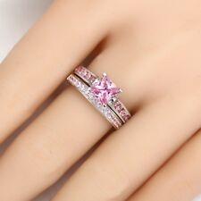 Certified 3.10Ct Princess Cut Pink Sapphire Wedding Diamond Ring In 14K Gold