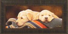"""YELLOW LAB PUPS"" by Jerry Gadamus FRAMED PRINT Labrador Retreiver Dog Puppy S/N"