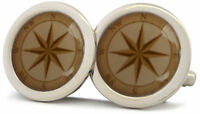 NAUTICAL BOAT NAVIGATION COMPASS CHROME CUFFLINKS