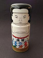 Japanese Sumo Wrestler Yokozuna Champion Motif Tin Tea Canister Made in Japan