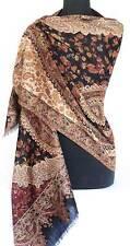 Black Brown & Burgundy Richly Detailed Hand-Cut Kani Wool Shawl {ashmina Style