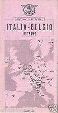 TIMETABLE CIPCE PIEGHEVOLE FERROVIA ORARIO TRENO ITALIA BELGIO 1964 4 PAGINE