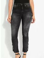 Guess Women's It Girl Glitter High Rise Skinny Jeans Destroyed Details Size 27