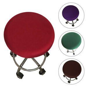 Round Chair CoverStool Cover Seat Cover Washable Slipcover Solid Color Bar Home