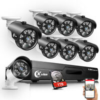 XVIM 1080P HDMI 5in1 HD-TVI 8CH DVR 720P Outdoor CCTV Security Camera System 1TB