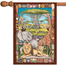 NEW Toland - Savanna Social - Colorful Tribal Africa Zoo Animal House Flag