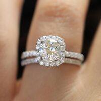 925 Silver White Sapphire Wedding Band Rings Set Women Fashion Jewelry Size 7-10